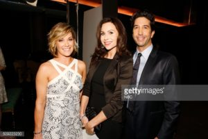 MUST SEE TV: AN ALL-STAR TRIBUTE TO JAMES BURROWS -- Pictured: (l-r) Andrea Anders, Minnie Driver, David Schwimmer -- (Photo by: Trae Patton/NBC/NBCU Photo Bank)